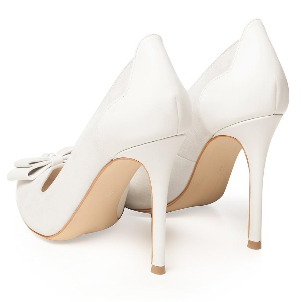 Pantofi De Mireasa Albi Cu Funda Si Cristal Briella