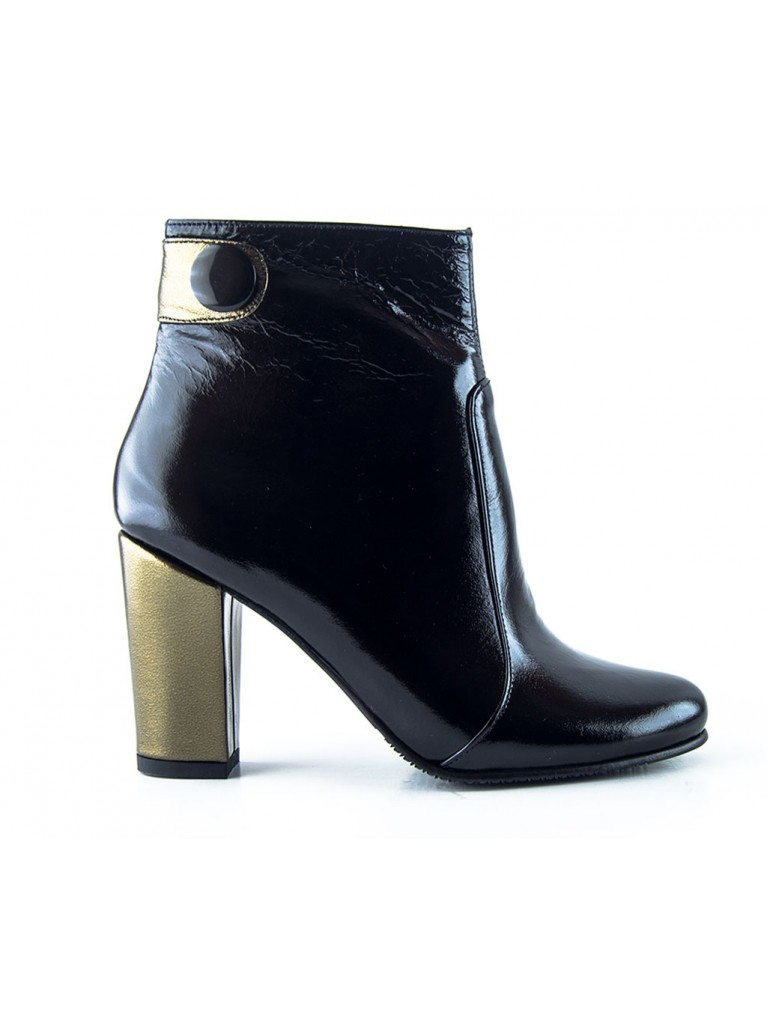 botine de dama negre cu toc auriu