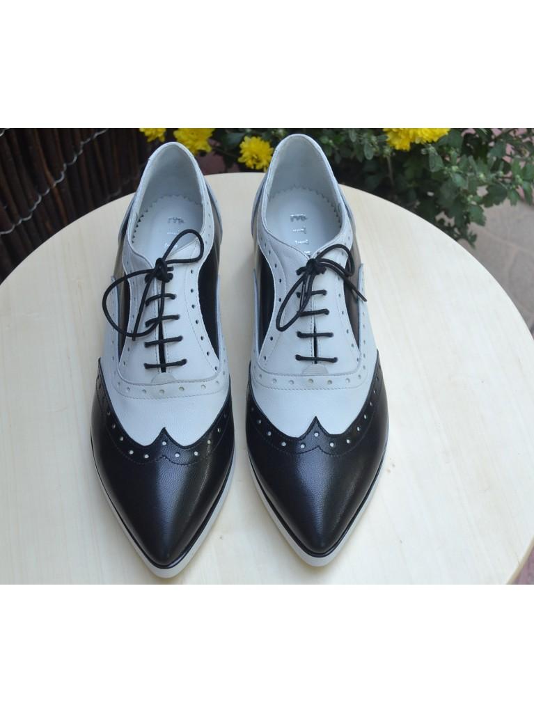 pantofi oxford alb negru cu talpa ortopedica