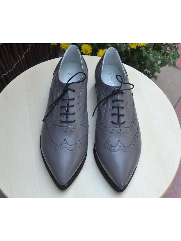 pantofi oxford gri cu talpa groasa ortopedica
