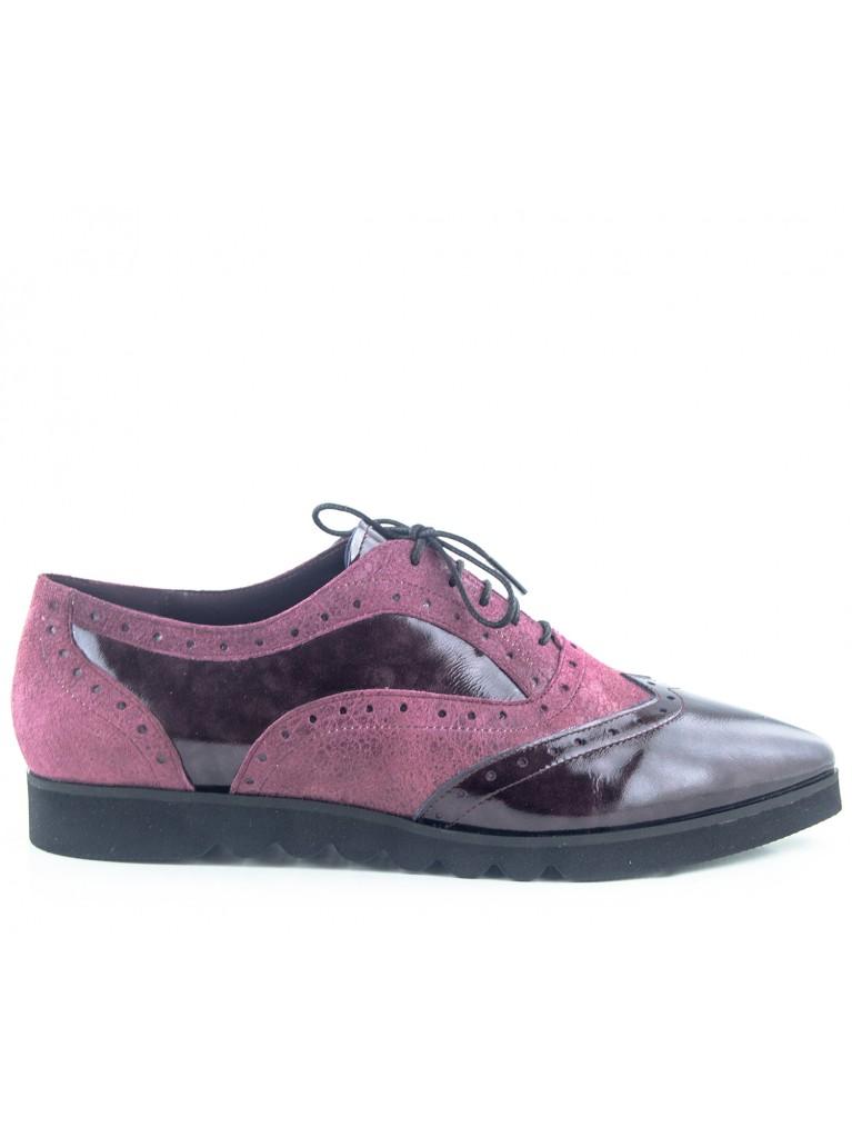 pantofi oxford piele lacuita grena