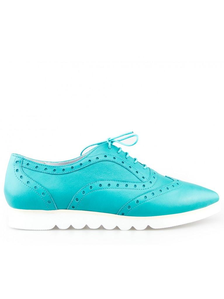pantofi oxford turcoaz cu talpa alba groasa