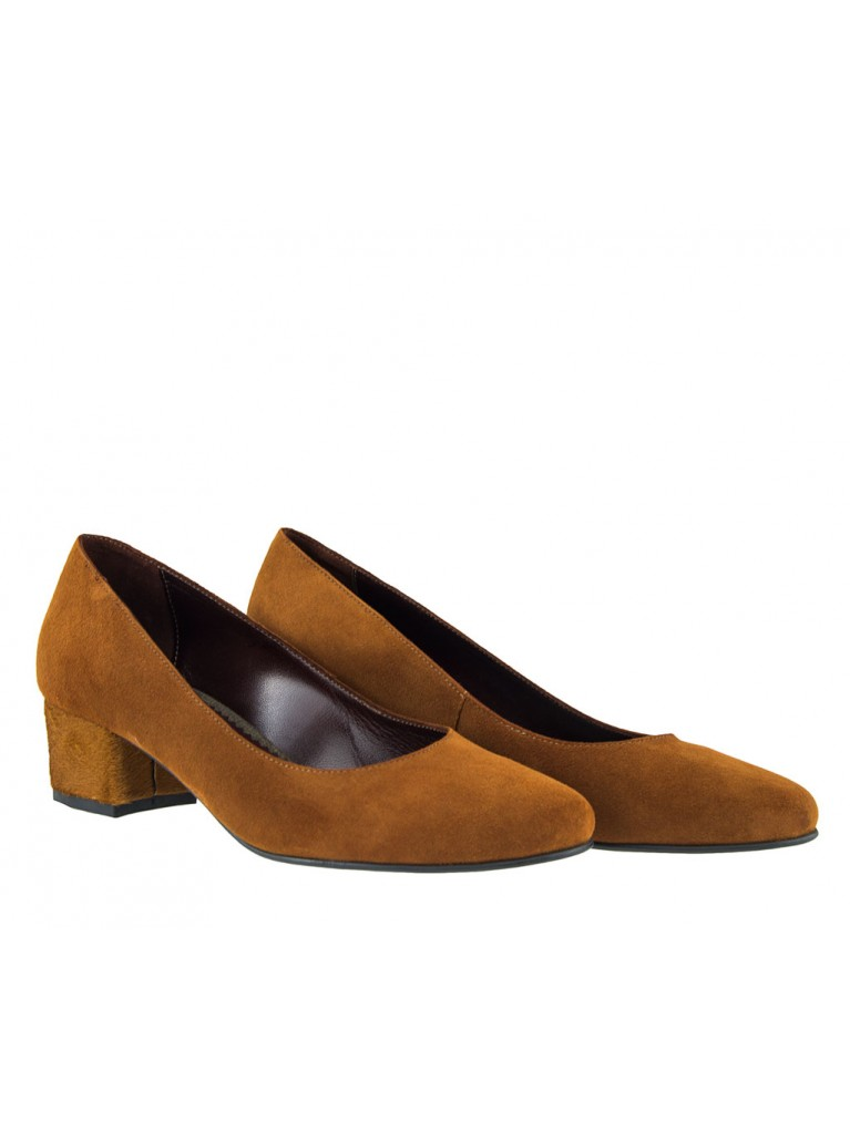 pantofi dama cu toc mic din piele intoarsa