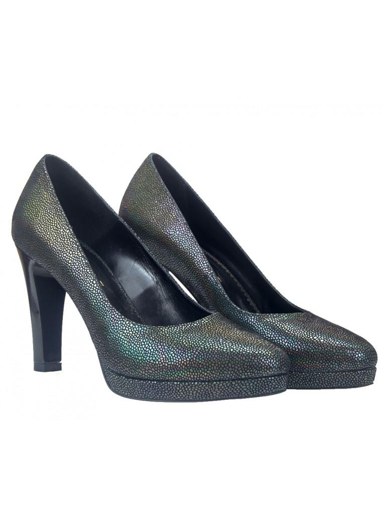 pantofi cu platforma si toc gros piele reflexii