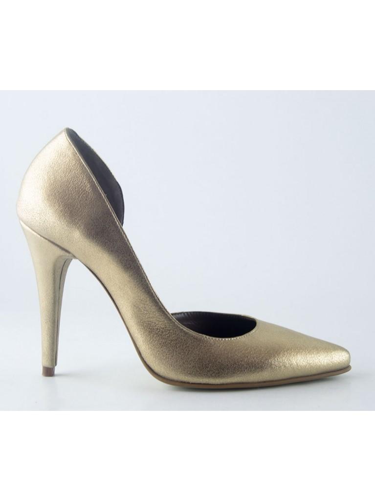 pantofi stiletto d'orsay aurii