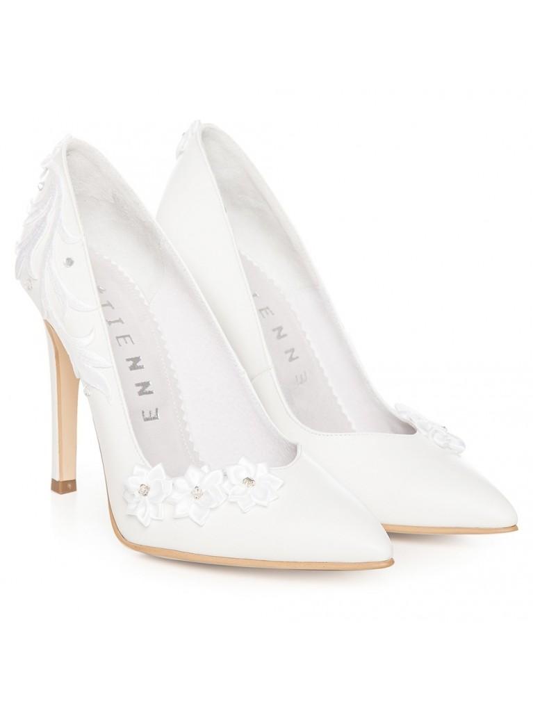 Pantofi stiletto albi flower Cinderella