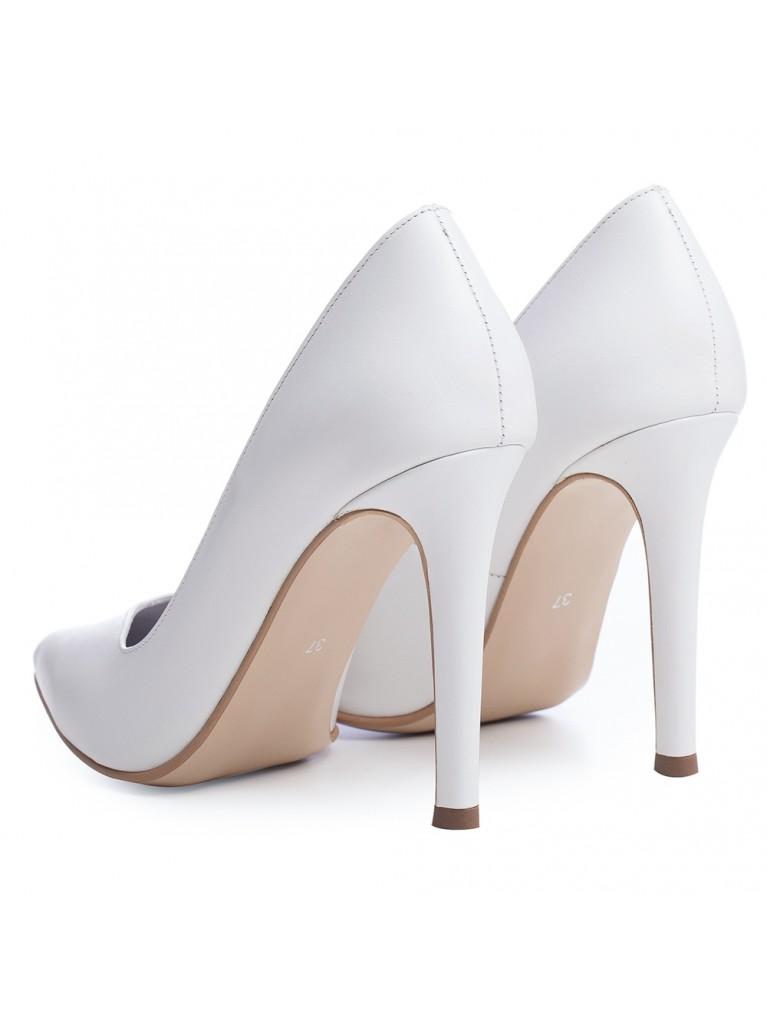 Pantofi stiletto albi Cinderella