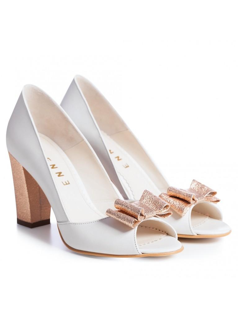 Pantofi de mireasa albi cu toc gros Chic