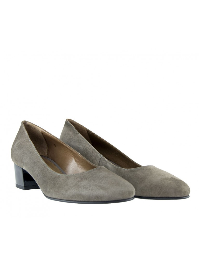 pantofi gri cu toc mic patrat piele intoarsa