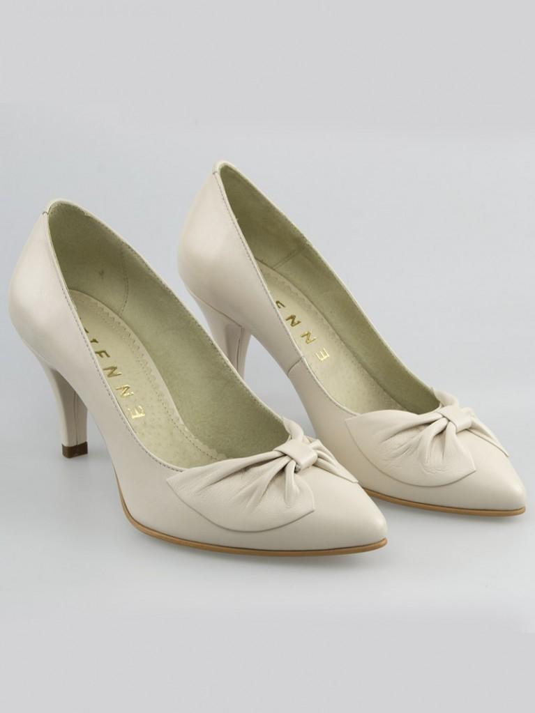 pantofi mireasa ivoire cu toc mic