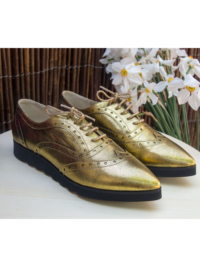 pantofi oxford auriu metalic cu talpa groasa