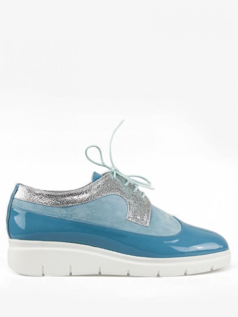 Pantofi oxford dama cu varf rotund bleu Kaia