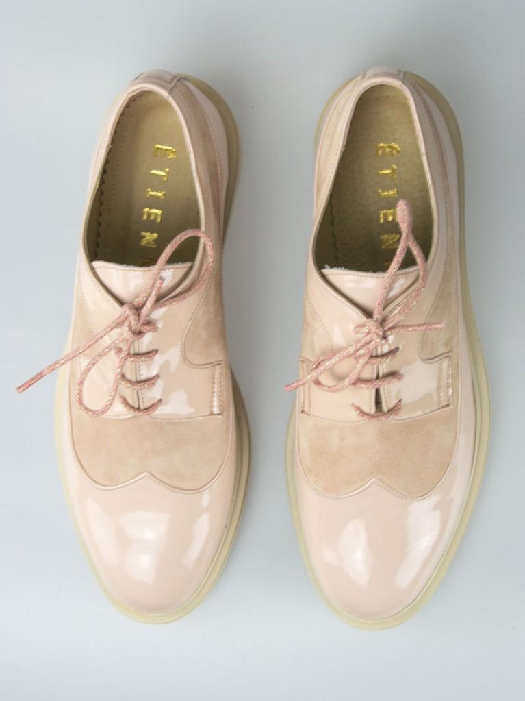 pantofi oxford de dama nude cu varf rotund nude