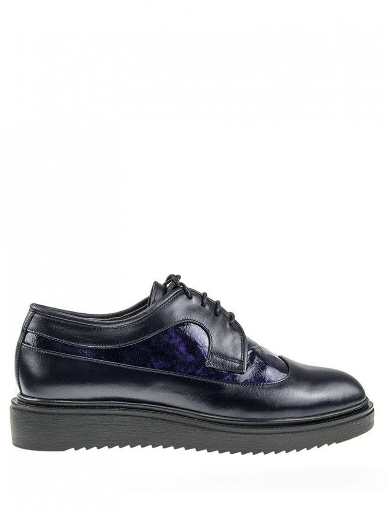 Pantofi oxford cu varf rotund bleumarin Kaia