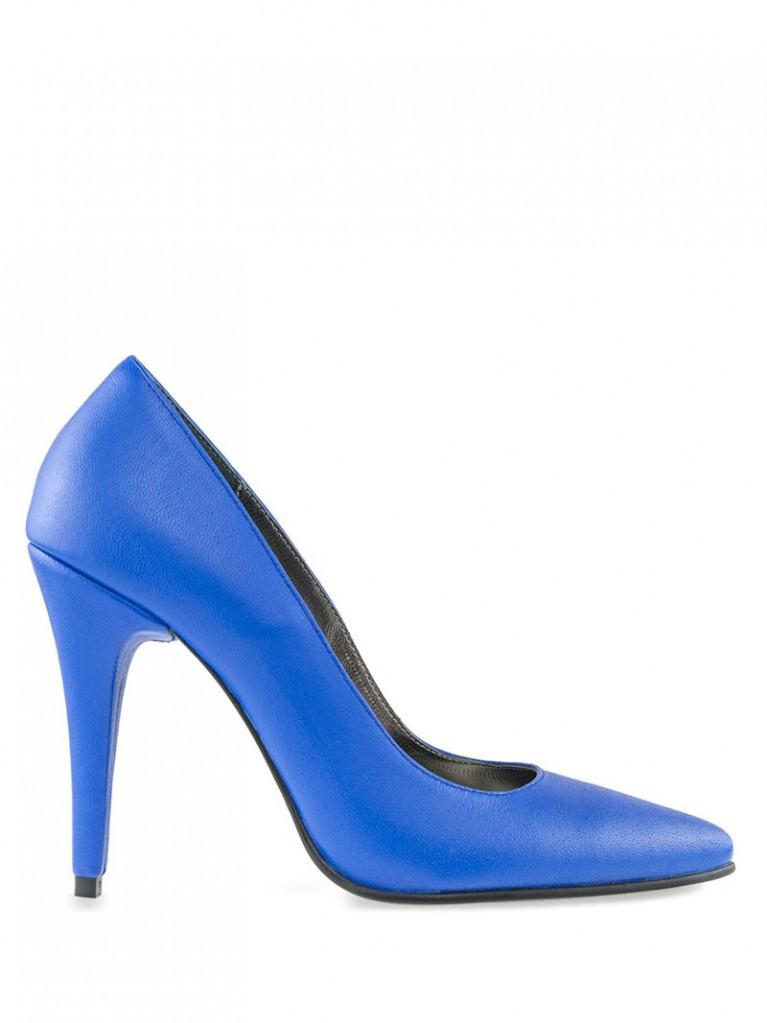 pantofi stiletto albastri cu toc 10cm