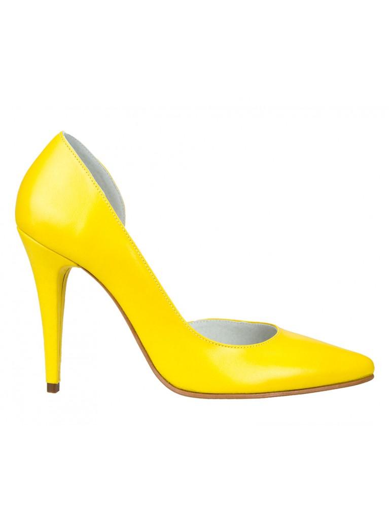 pantofi stiletto decupati galbeni