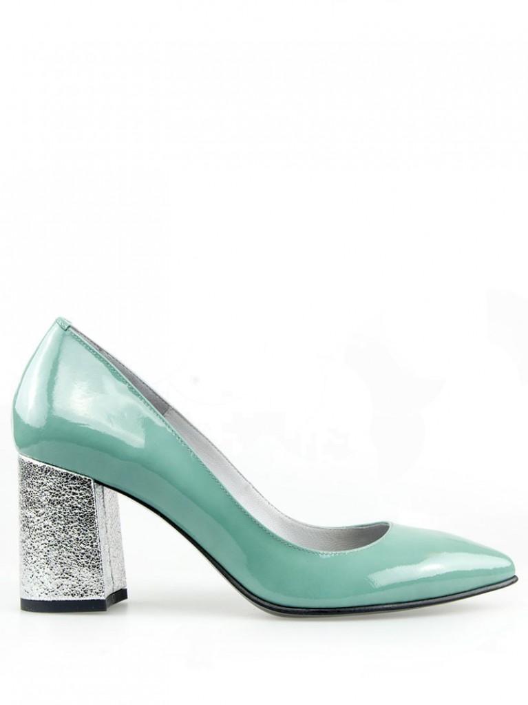Pantofi stiletto lac menta cu toc gros 7cm Crystal