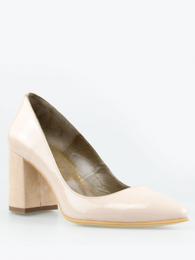 pantofi stiletto lac nude cu toc gros 7cm