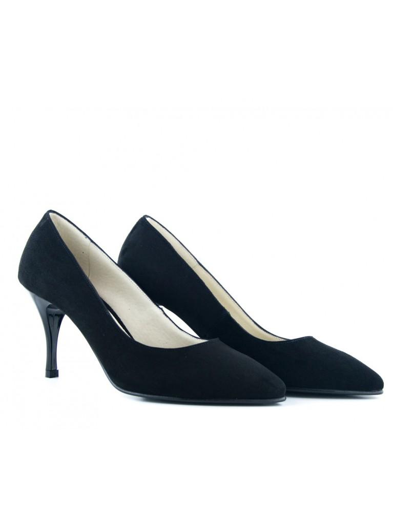 Pantofi stiletto din piele intoarsa neagra