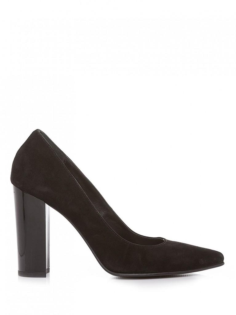 pantofi stiletto cu toc gros si din piele intoarsa neagra