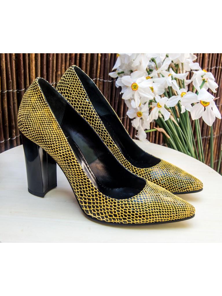 pantofi cu toc gros din piele snake print