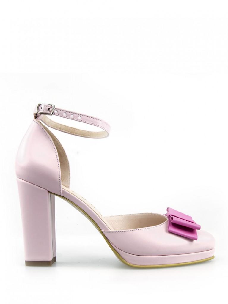 sandale cu platou roz pal eros