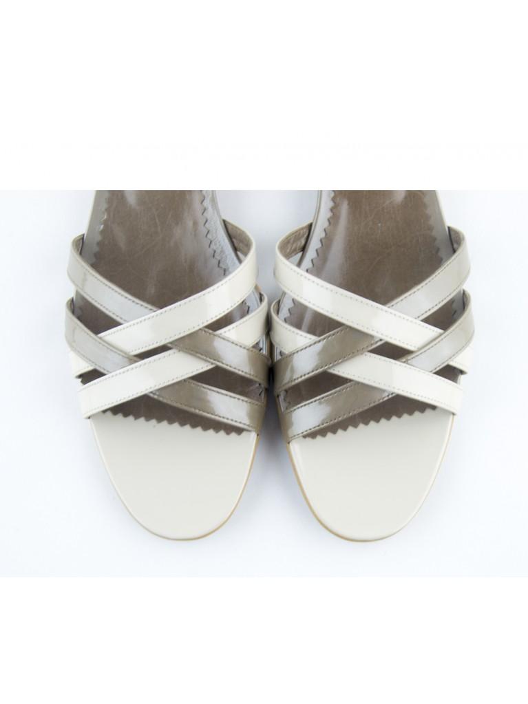 sandale cu talpa joasa bej crem