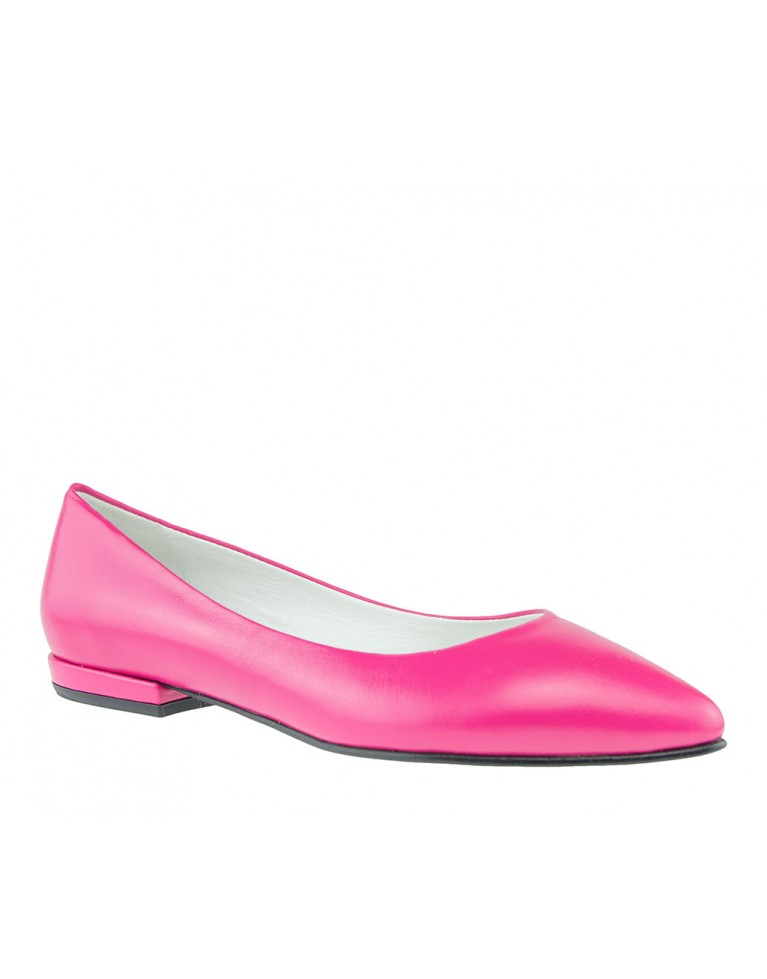 balerin din piele naturala roz fucsia