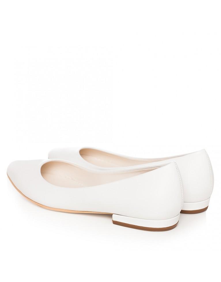 Balerini de mireasa albi din piele naturala Classy