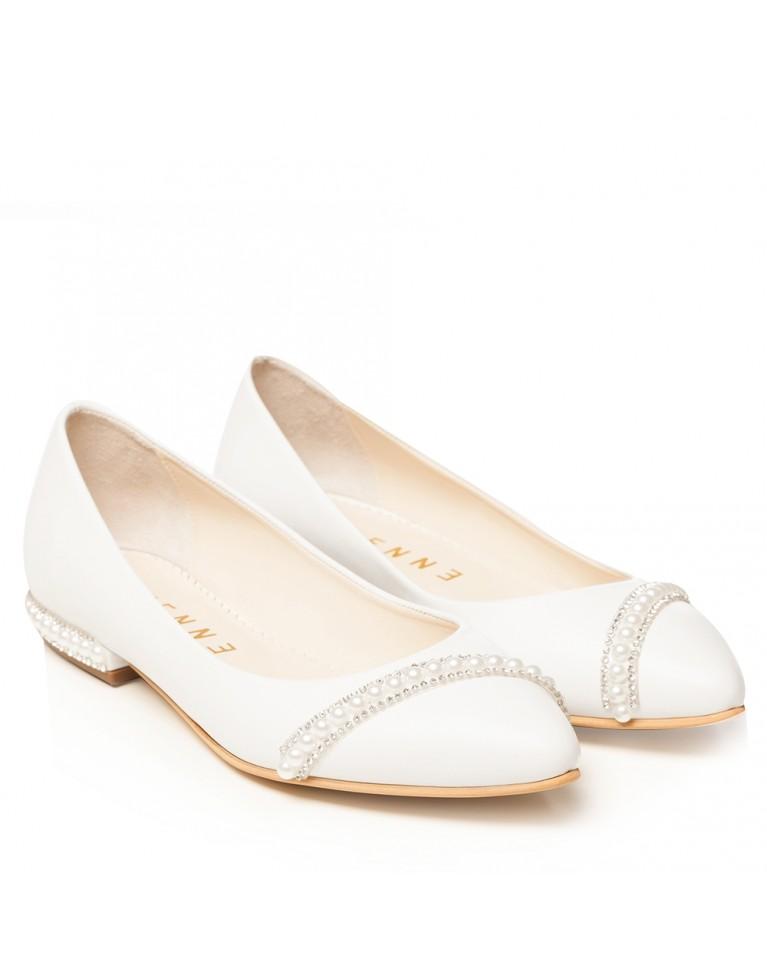 Balerini de mireasa albi cu perle si pietre Classy