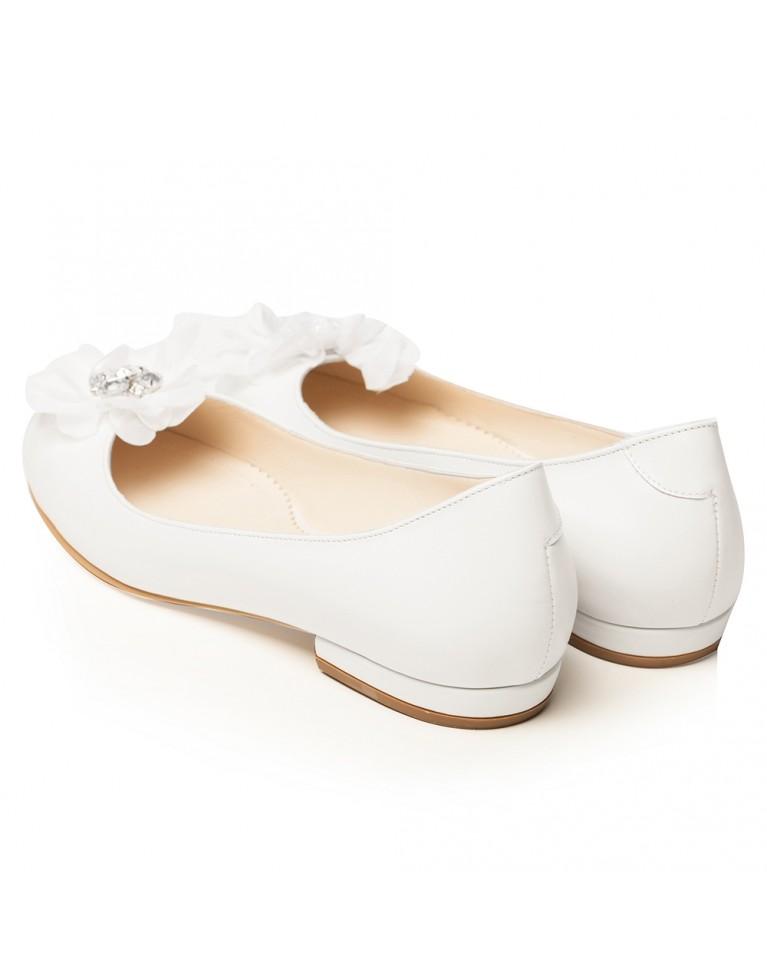 balerini de mireasa albi cu funda si accesoriu