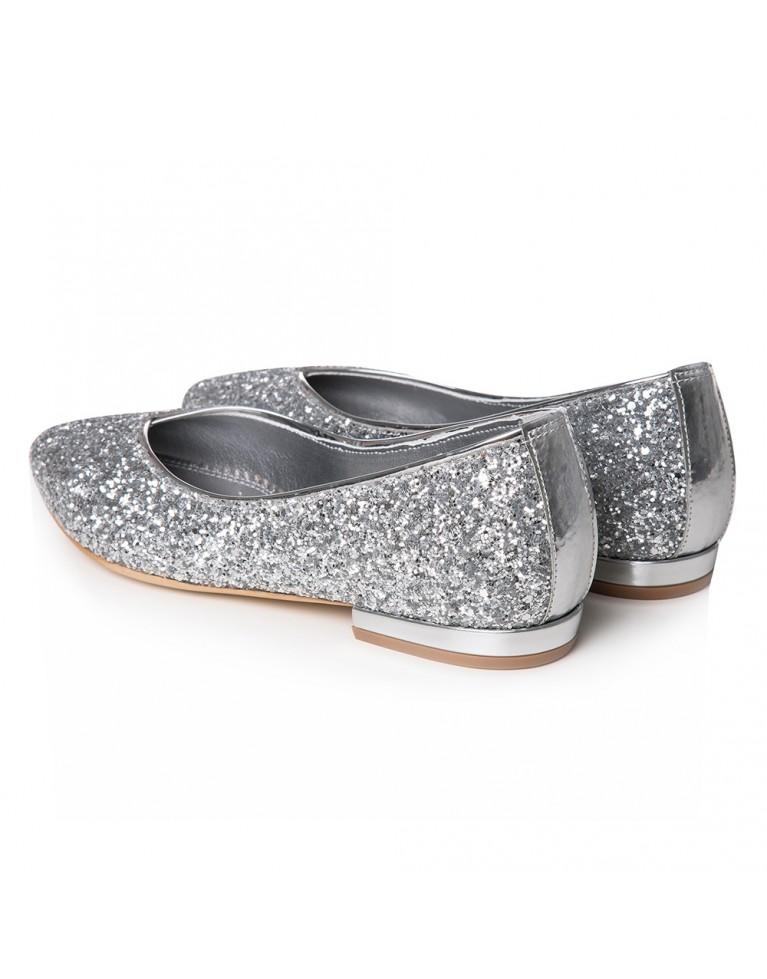 Balerini mireasa argintii glitter Bijou