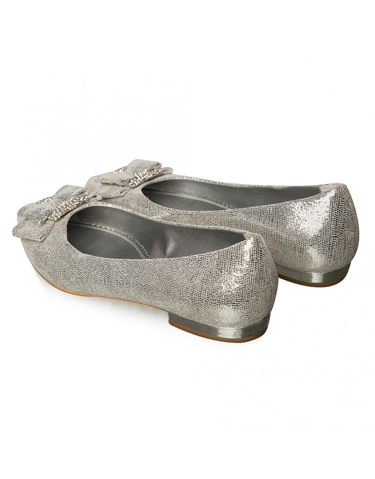 Balerini mireasa argintii cu funda Bijou