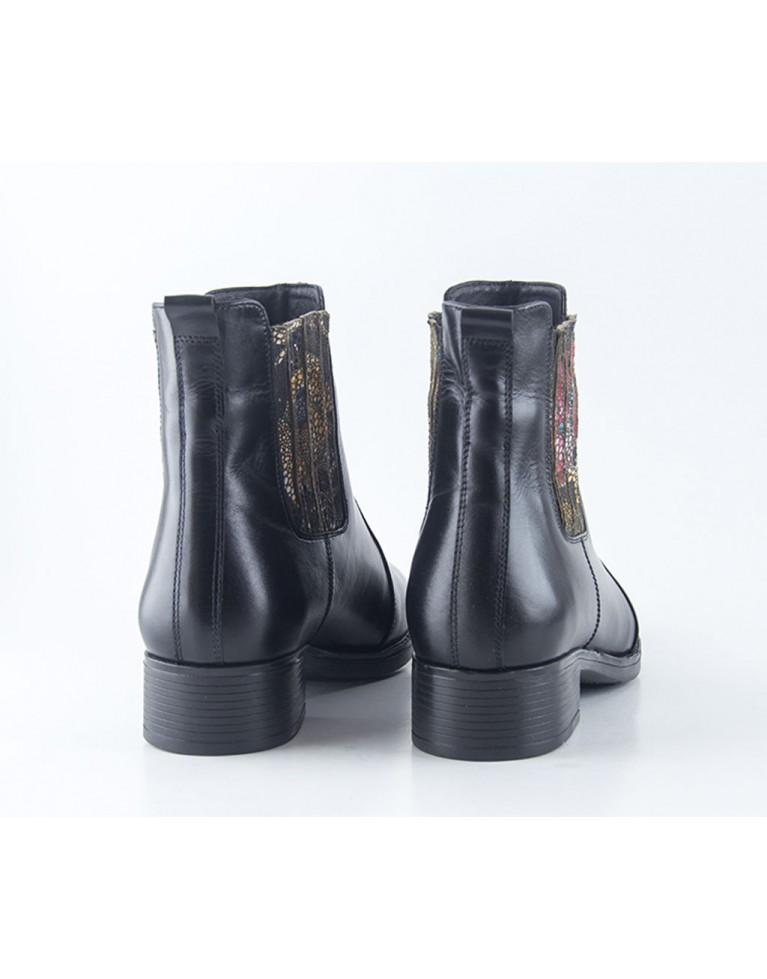 ghete de dama chelsea cu elastic negru floral