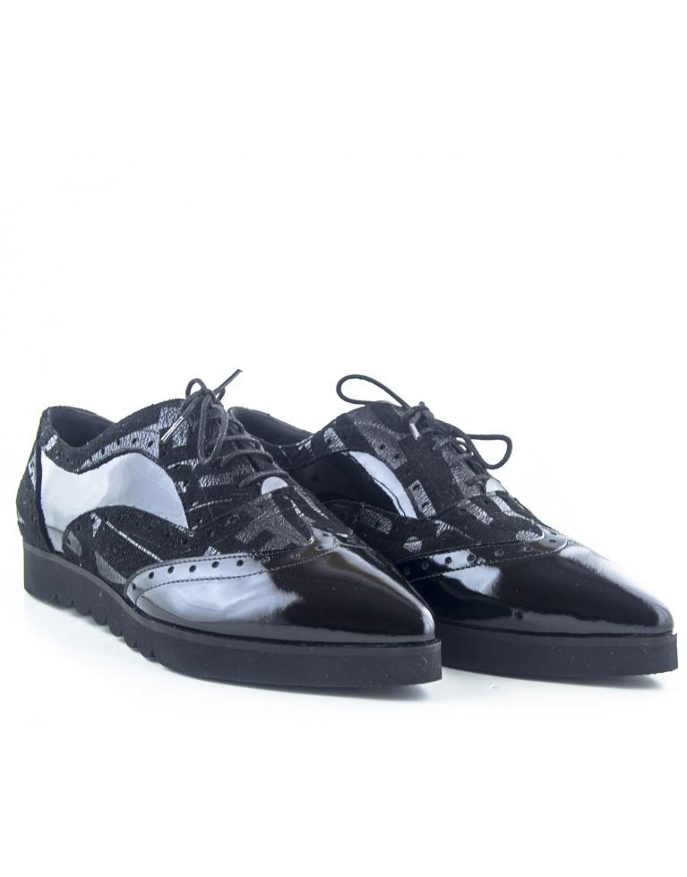 pantofi oxford negri cu talpa groasa ortopedica
