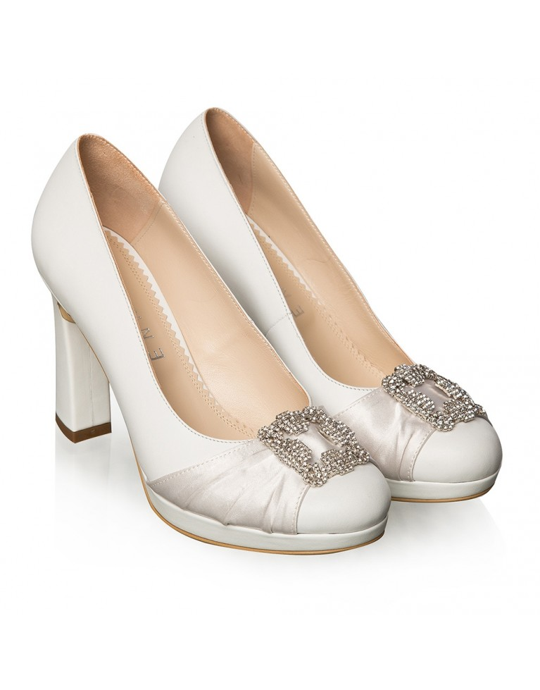 Pantofi mireasa albi accesorizati Agnès