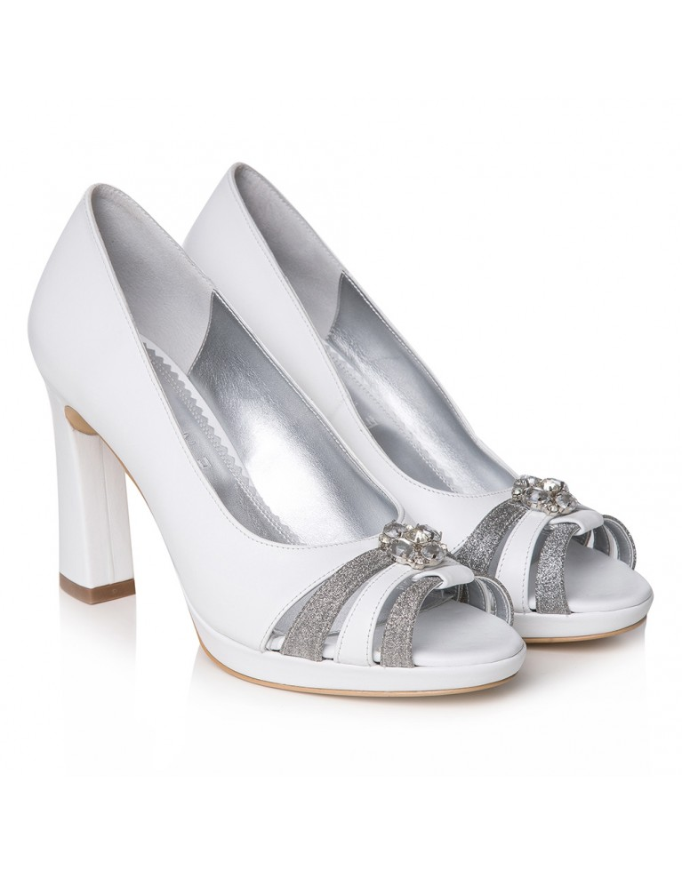 Pantofi mireasa albi Agnès