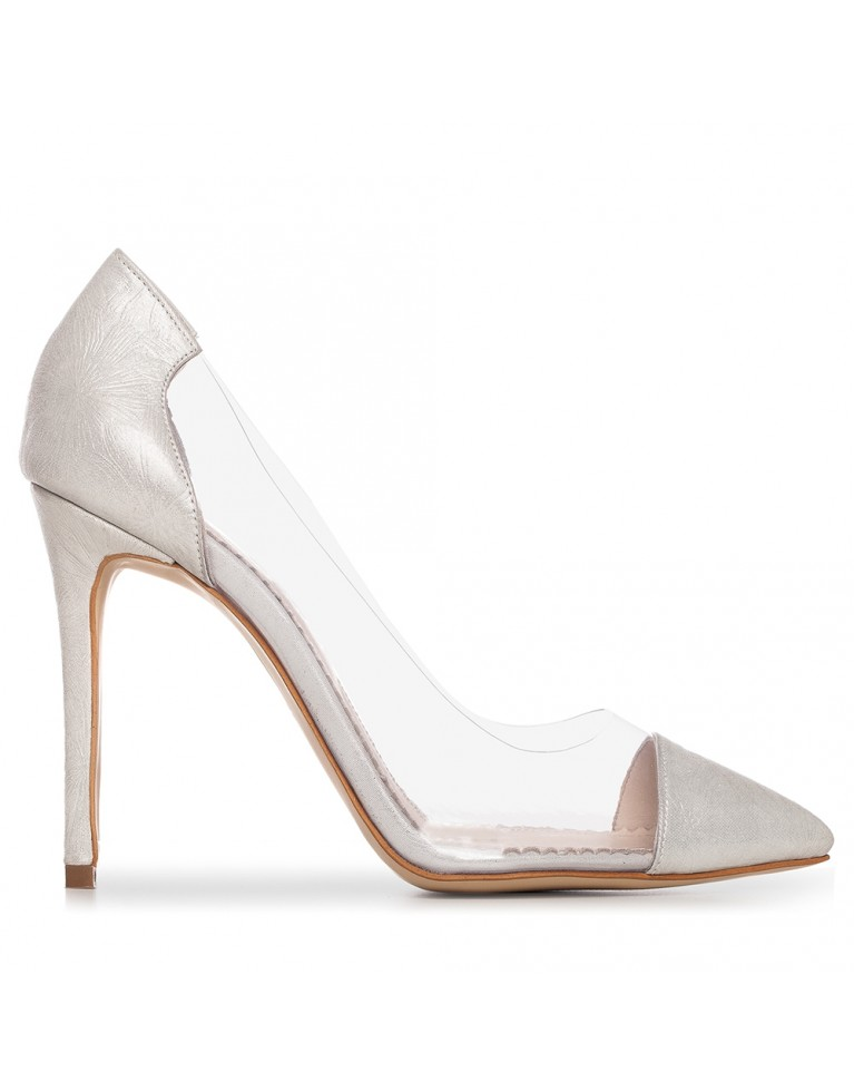 Pantofi stiletto argintii cu flower print PLEXI