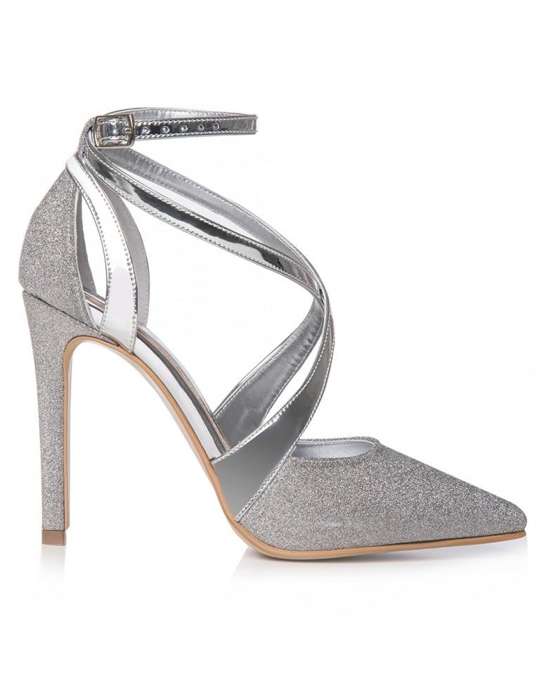 Pantofi mireasa argintii Inés