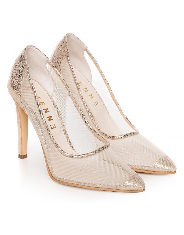 Pantofi stiletto aurii cu plasa Bliss