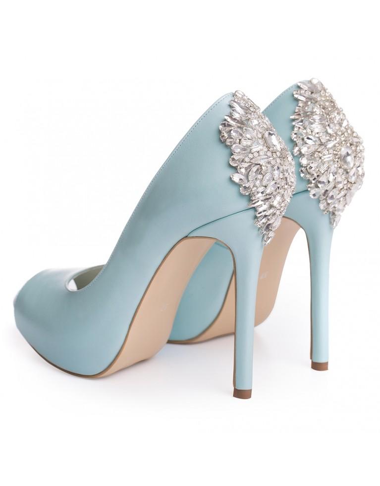 Pantofi de mireasa cu platforma bleu ciel cu cristale Estelle