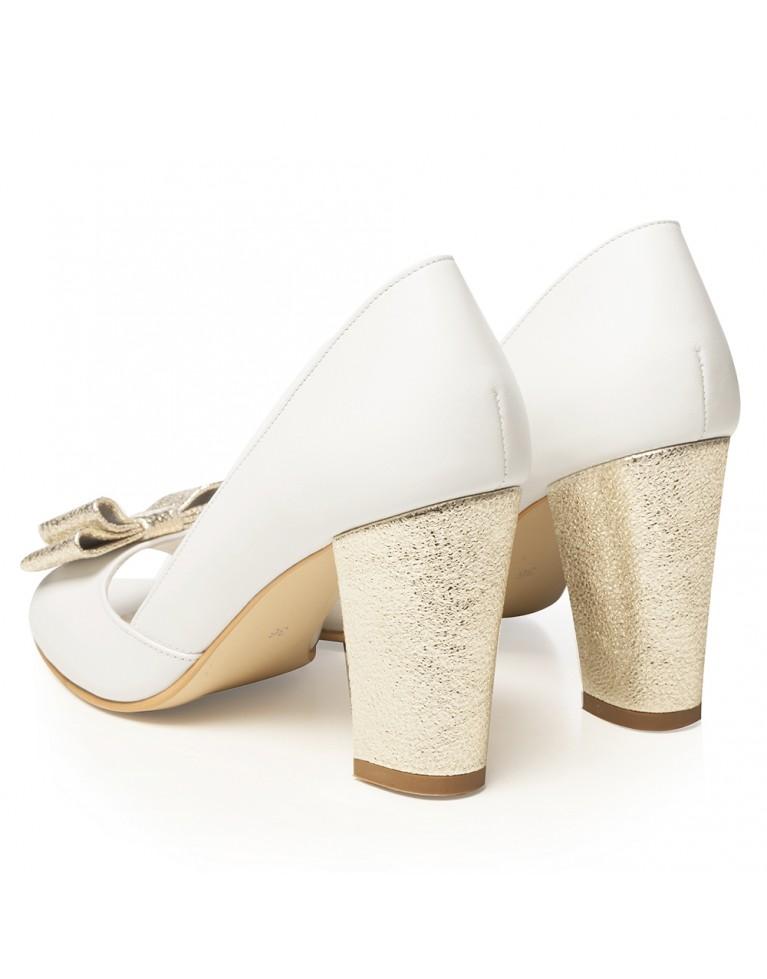 Pantofi de mireasa albi cu toc gros si funda aurie Chic
