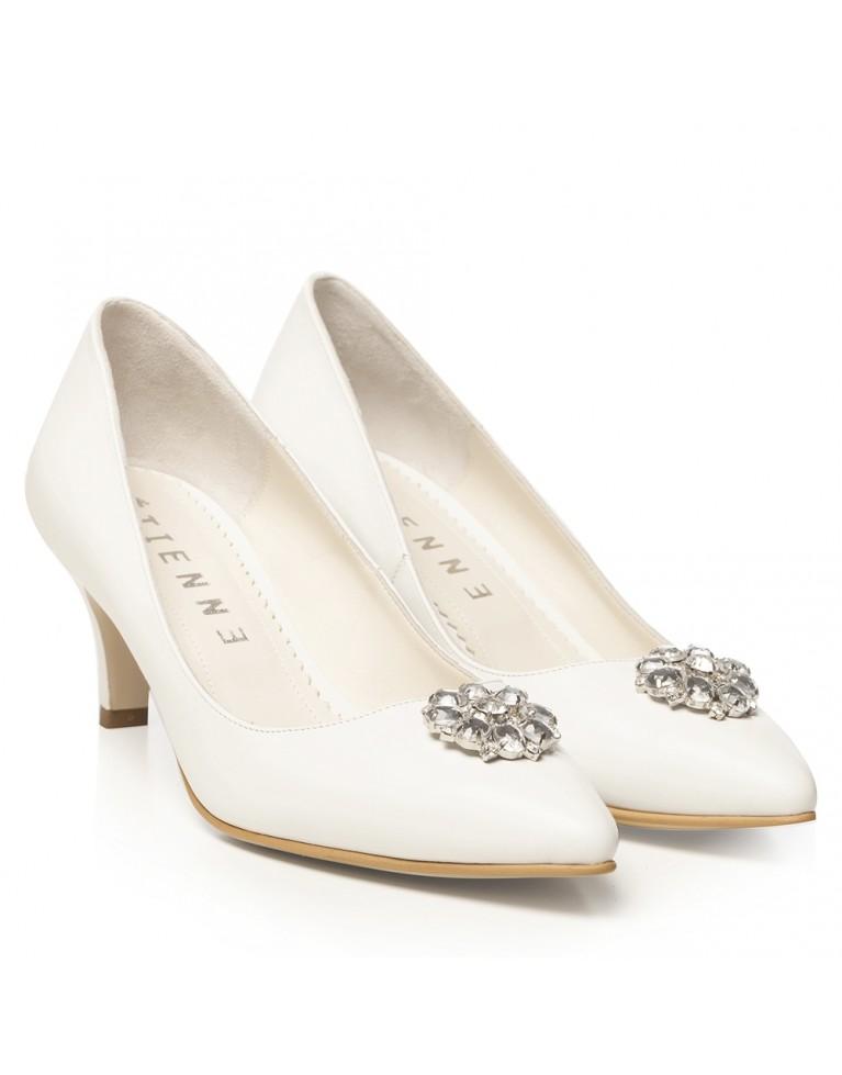 Pantofi de mireasa albi cu toc mic si accesoriu pietre Élise