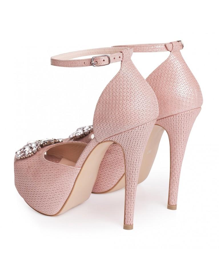 Sandale de mireasa cu platforma roz sidef accesorizati cu cristale Caressa