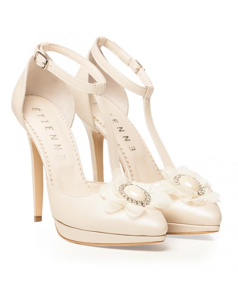 Pantofi de mireasa ivory cu platforma si accesoriu pietre Jacqueline