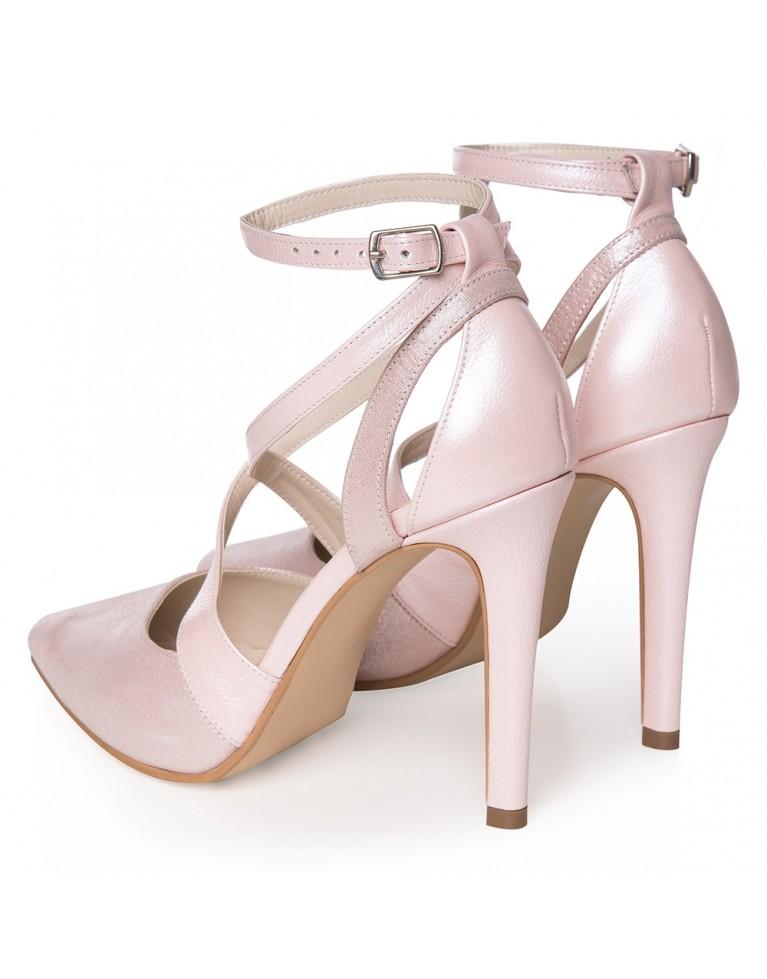Pantofi mireasa roz sidef Inés