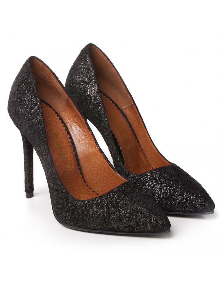 Pantofi de ocazie negri cu presaj floral Louise