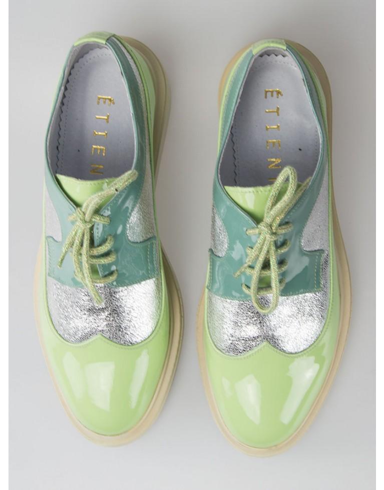 pantofi oxford de dama verde cu varf rotund bleu
