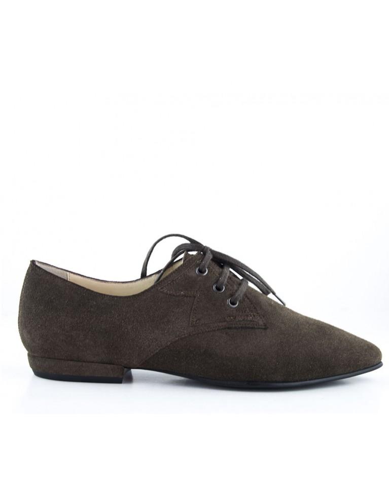 Pantofi oxford cu talpa joasa din piele intoarsa maro