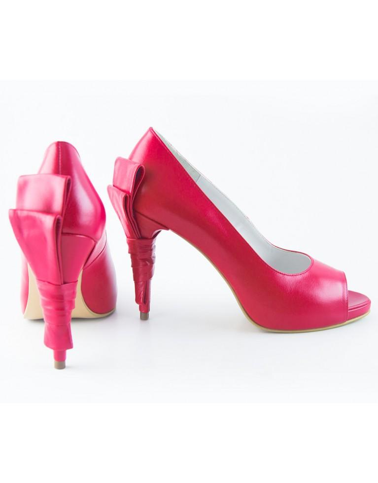 pantofi peep toe cu funda la spate rosii